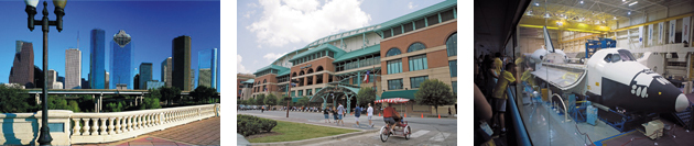 ヒューストン市の街並み ミニッツ・メイド・パーク NASA(アメリカ航空宇宙局) (写真提供:テ