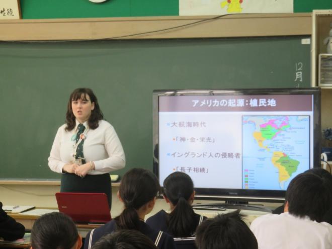千葉市:国際交流員が稲毛中学校を訪問(12月4日)